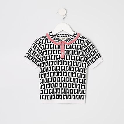 Mini girls white RI monogram polo shirt