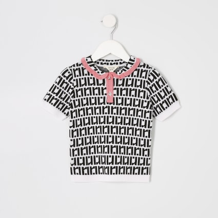 Mini girls white RI monogram polo shirt