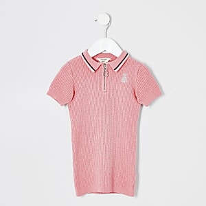Robe polo unie rose mini fille