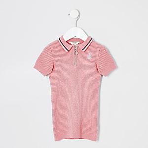 Mini - Roze effen jurk met polokraag voor meisjes