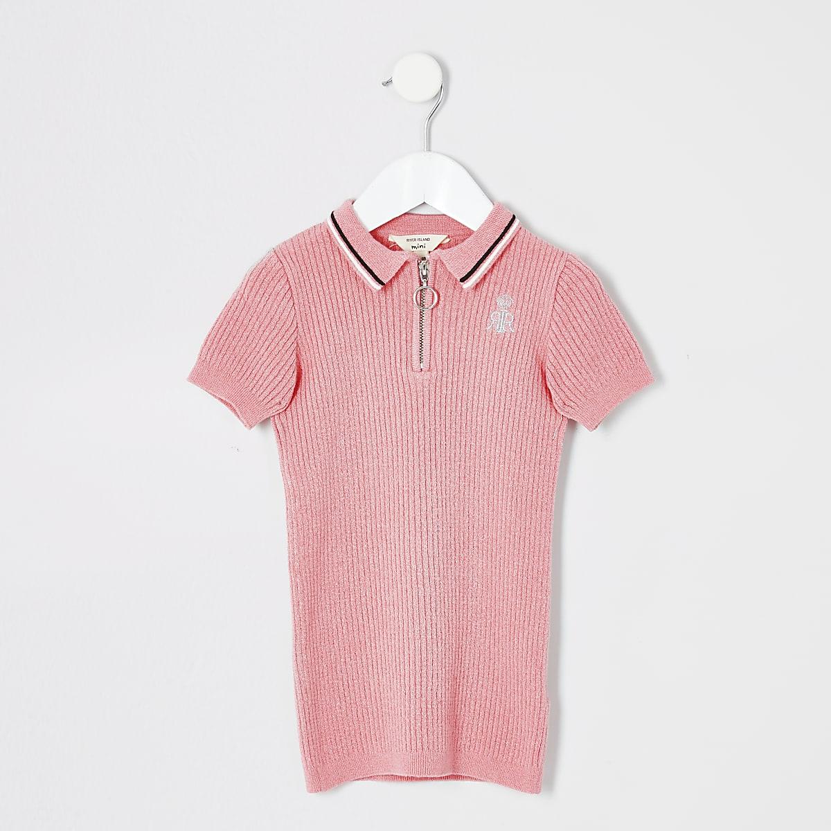 Mini girls pink plain polo dress
