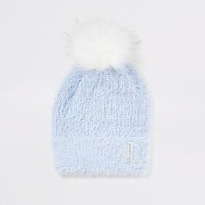 Girls blue faux fur pom pom beanie hat