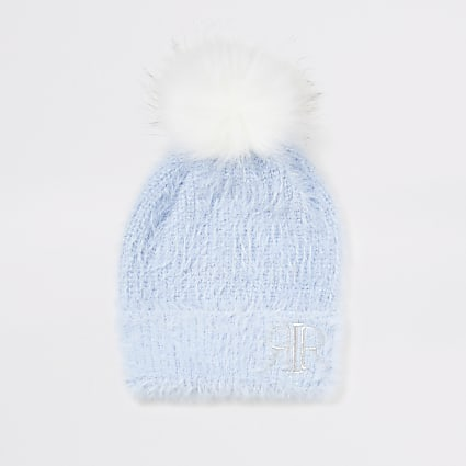 Girls blue faux fur pom pom beanie hat