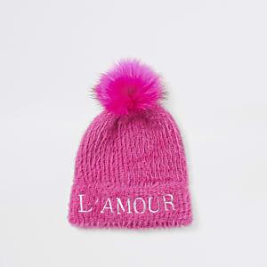 Bonnet duveteux « L'amour » en maille rosepour fille