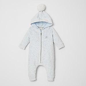 Genouillèreà capuche en velours bleu pour bébé
