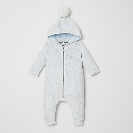 Baby blue velour hooded all in one