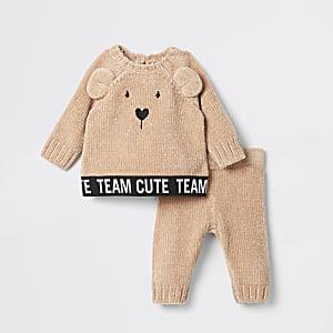 Bruinechenille outfit met pullover met berenprint voor baby's