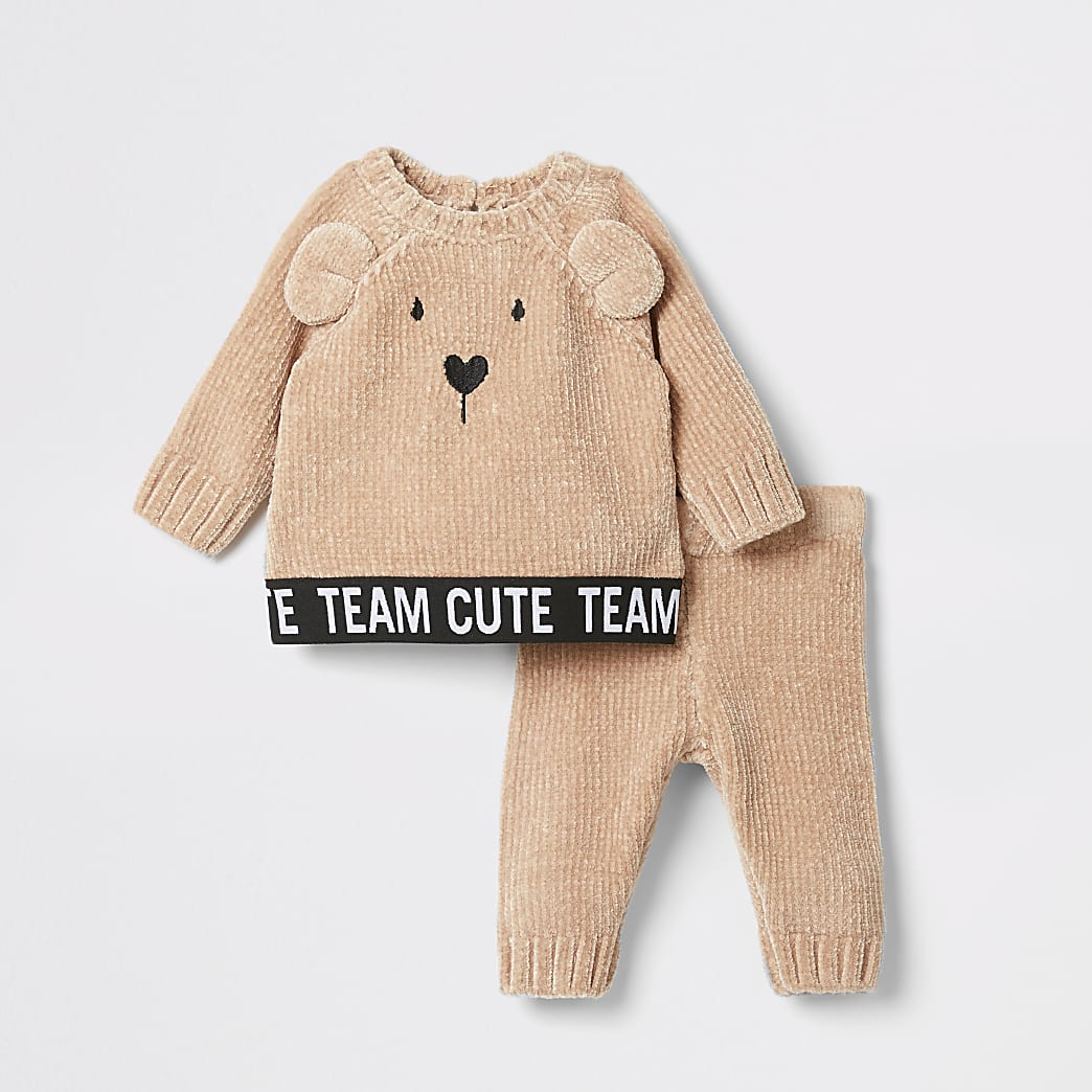 Baby brown bear print chenillie jumper outfit