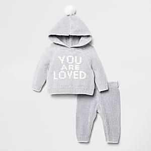 Baby-Outfit mit grauem Strick-Hoodie aus Chenille mit Print