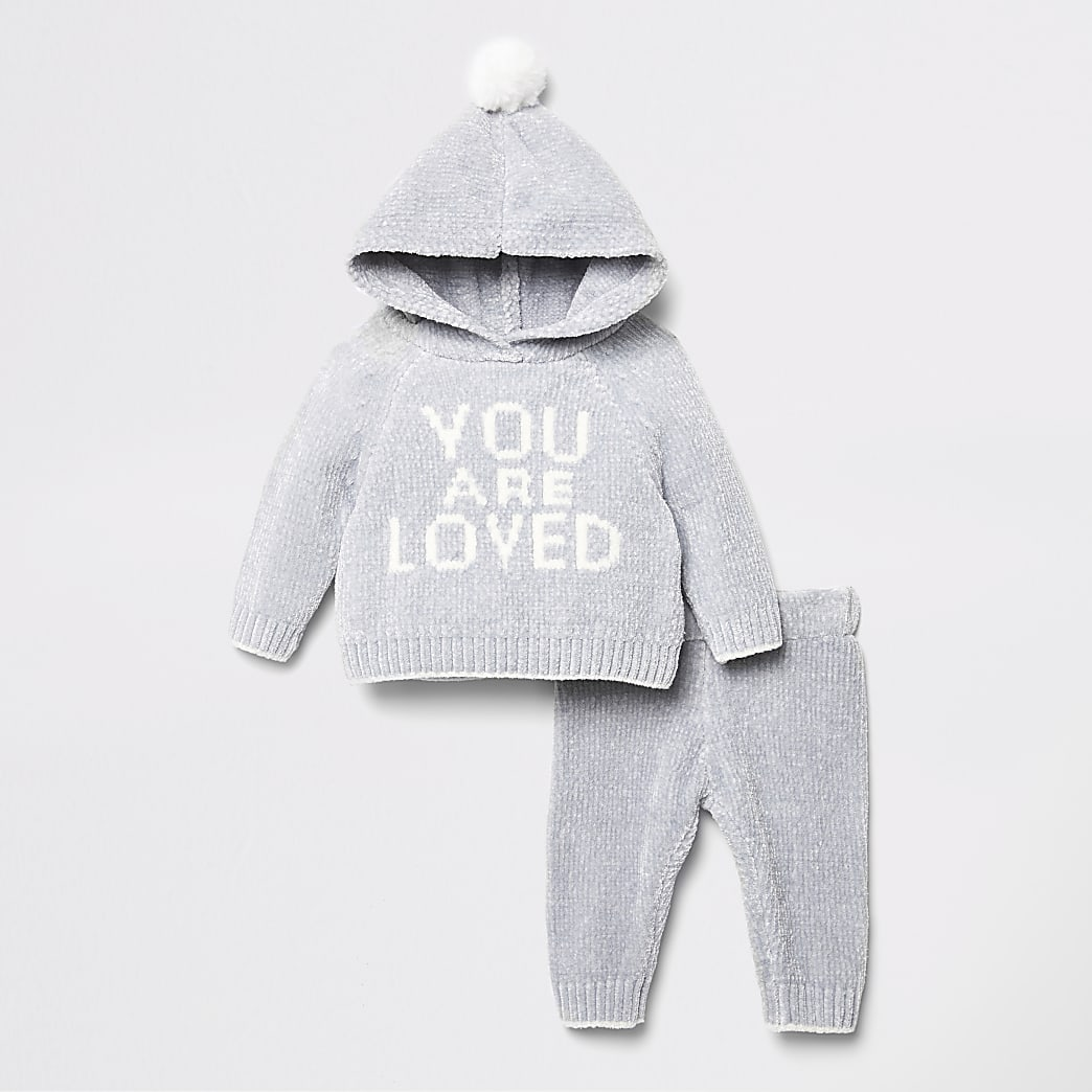 Baby grey print chenille knit hoodie outfit