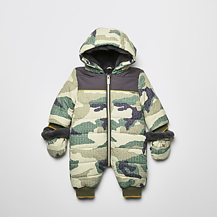 Baby khaki camo monogram padded snowsuit