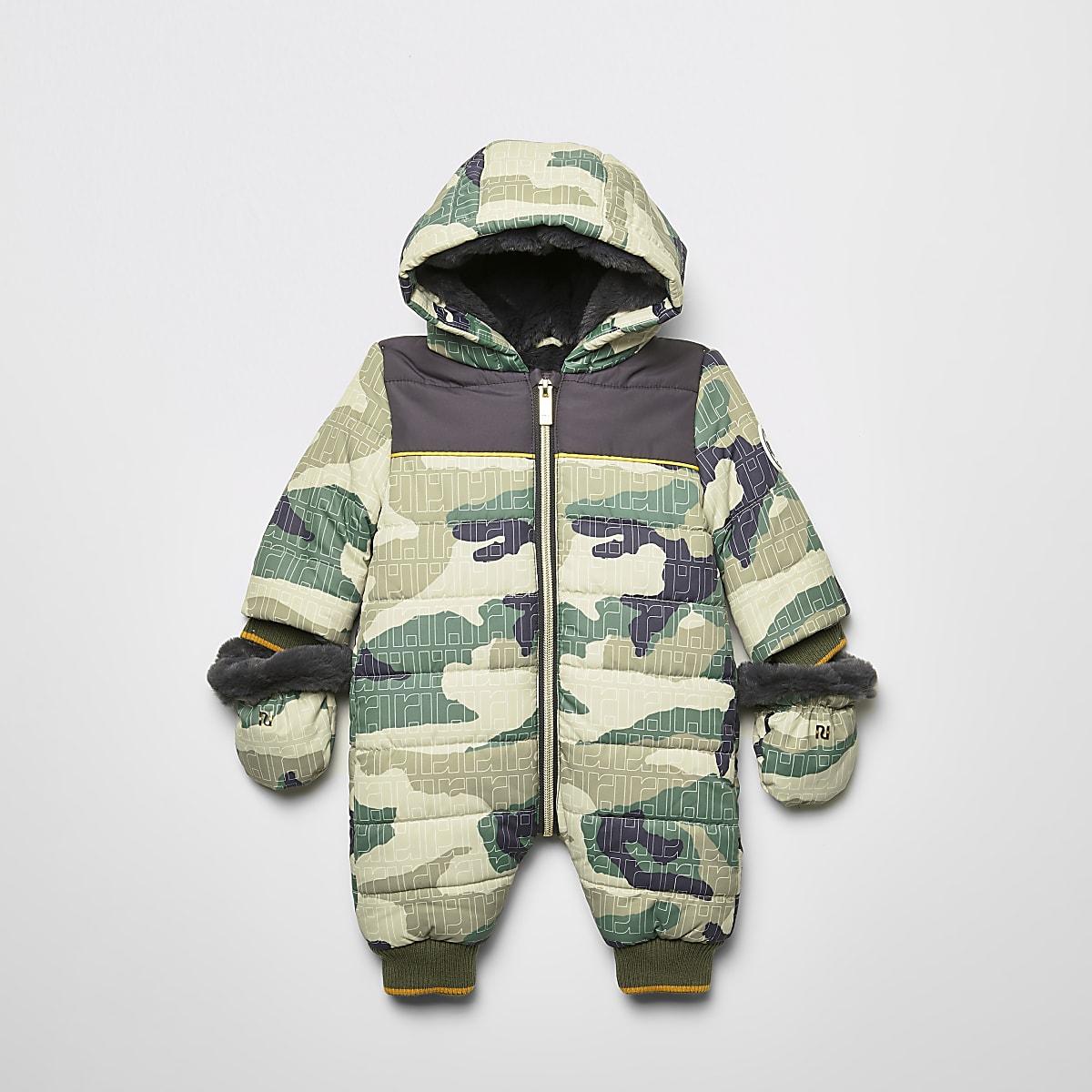 Kaki gewatteerd sneeuwpak met camouflageprint voor baby's