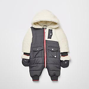 Baby– Grauer, gesteppter Fleece-Schneeanzug
