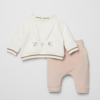 Baby pink bunny sweatshirt baby outfit