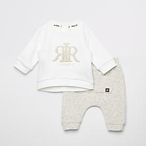 Ensemble avec sweat crème RVR en relief pour bébé