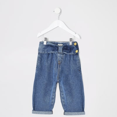Mini Girls Blue Bow Waist Mom Jeans by River Island
