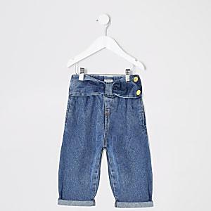 Jeans Mom bleus avec ceinture en forme denœudMini fille
