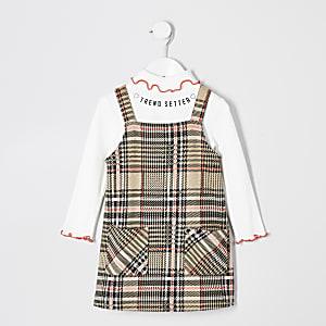 Mini girls check 2 in 1 pinafore dress