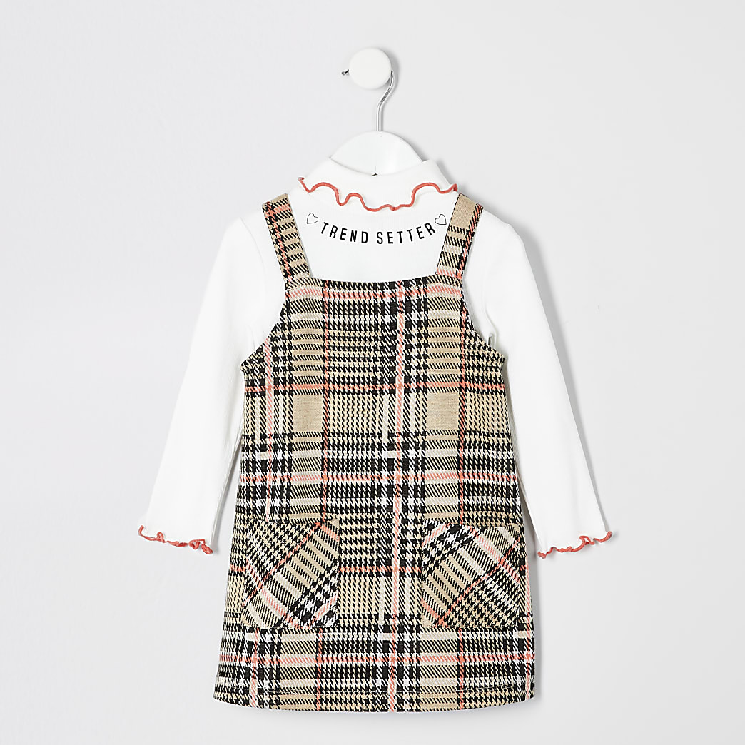 Mini girls check pinafore dress out