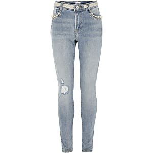 Amelie - Blauwe jeans verfraaid met parels voor meisjes