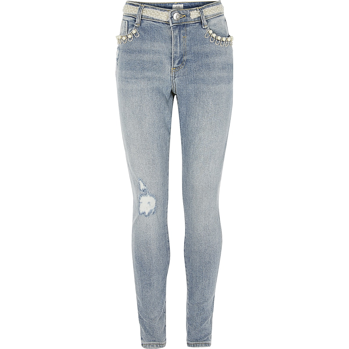 Girls blue pearl embellished Amelie jeans