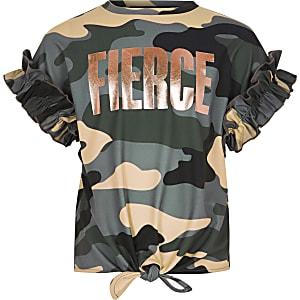 Kaki T-shirt met camouflage- en 'Fierce'-print voor meisjes