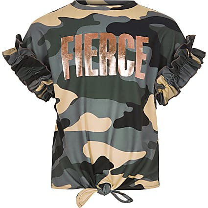 Girls khaki camo 'Fierce' T-shirt