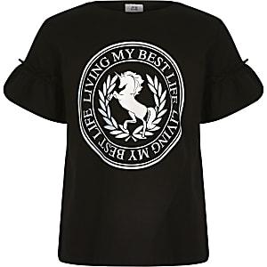 """Schwarzes T-Shirt """"Best Life"""" mit Einhornprint"""