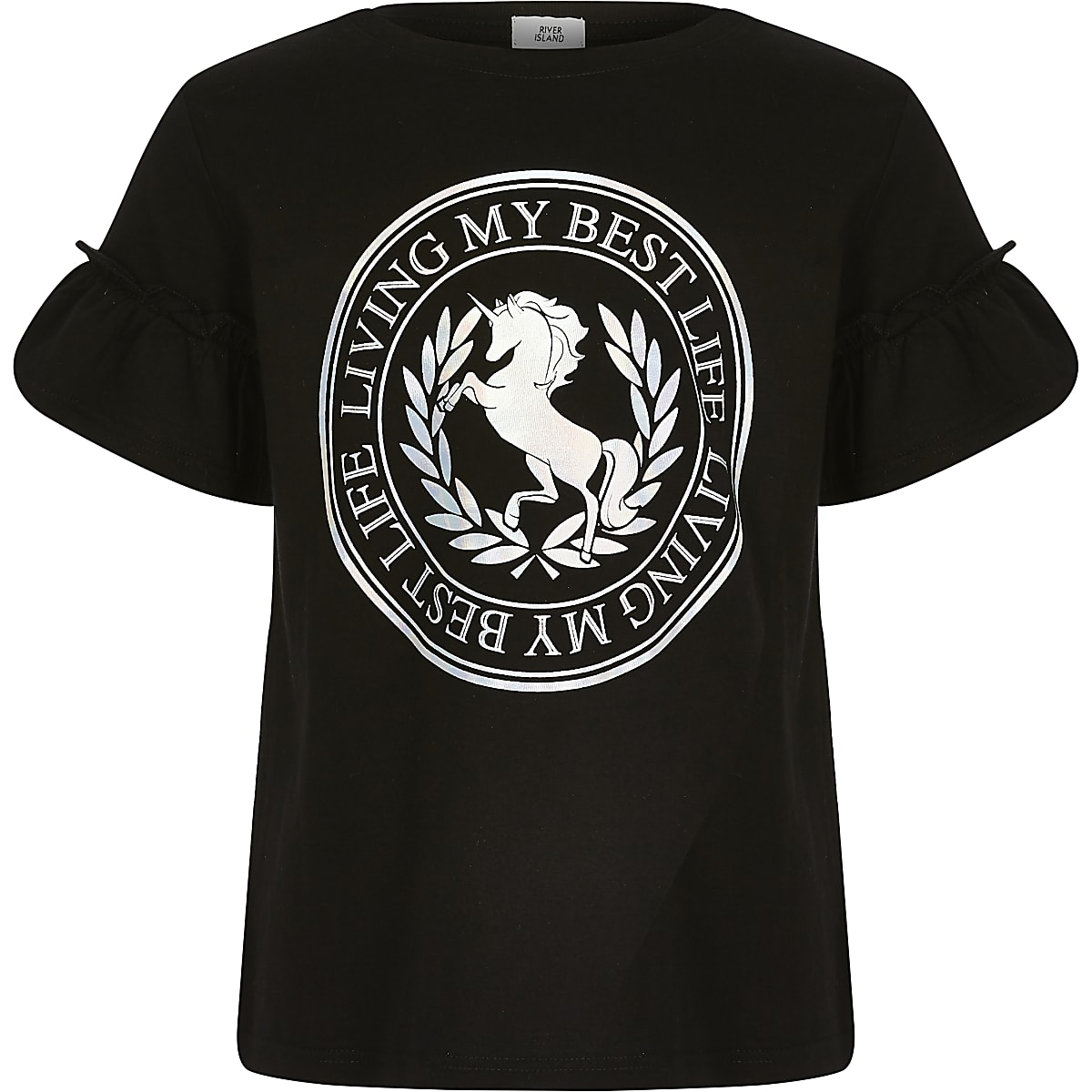 Girls black 'Best Life' unicorn print T-shirt