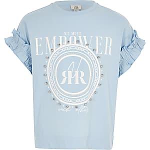 T-shirt imprimé bleu à strass pour fille