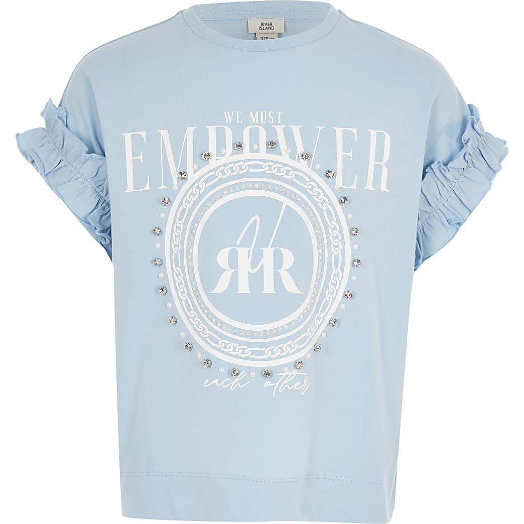 Girls blue diamante print T-shirt