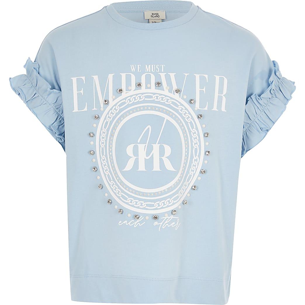 Blauw T-shirt met diamanté print voor meisjes