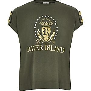 Khaki T-Shirt mit RI-Wappen