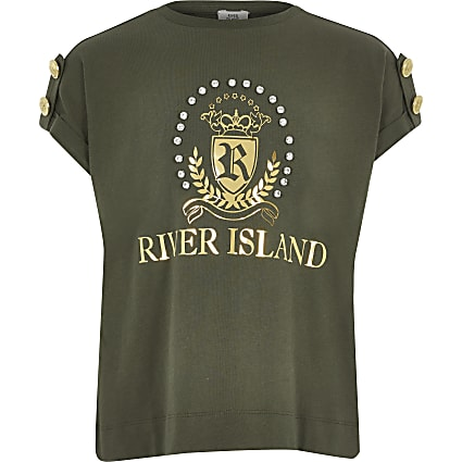 Girls khaki diamante RI crest T-shirt