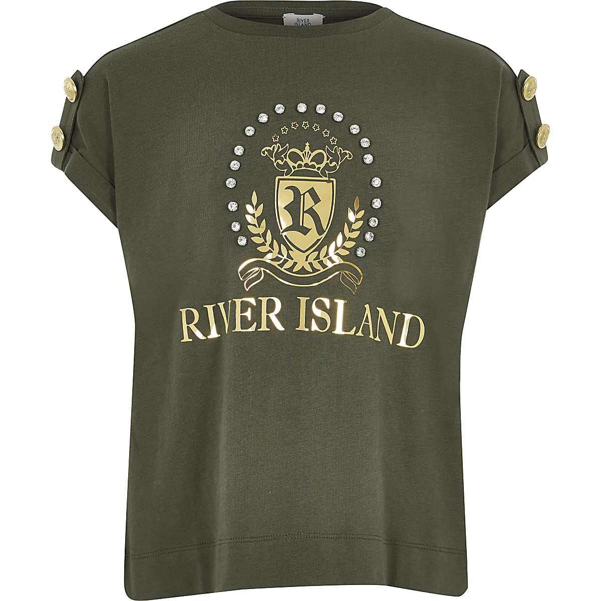 Girls khaki diamante RI crest T-shirt