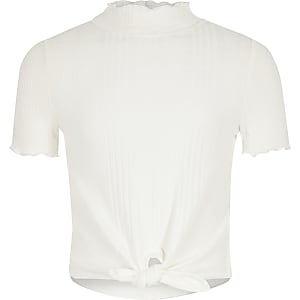 T-shirt blanc à col montant pour fille