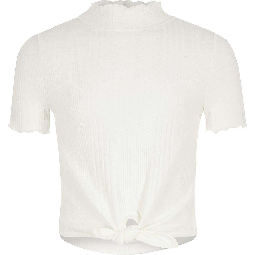 Girls white high neck T-shirt