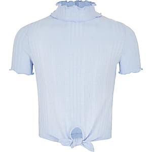 Blauw hoogsluitend T-shirt met strik voor meisjes