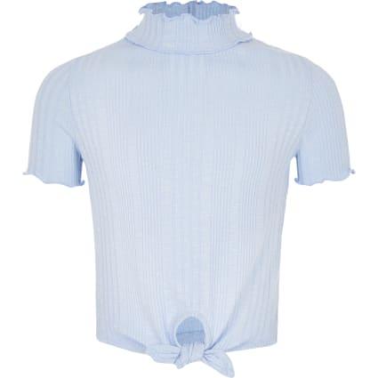 Girls blue high neck tie front T-shirt