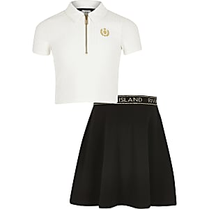 Girls white zip neck polo shirt outfit