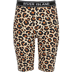 Girls beige leopard print cycle shorts