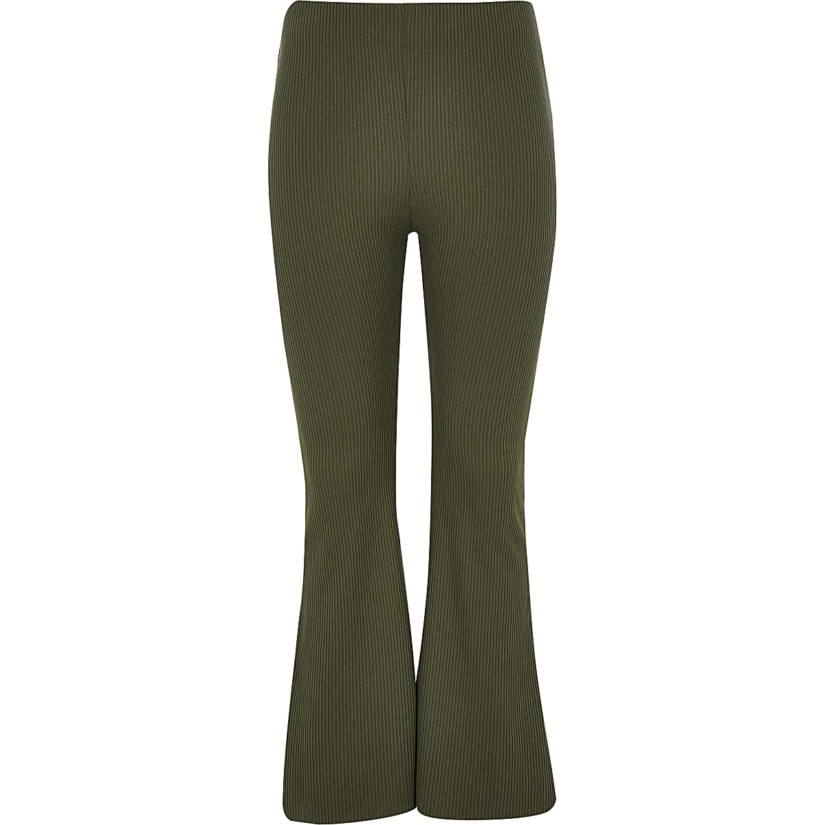 Girls khaki flared trousers