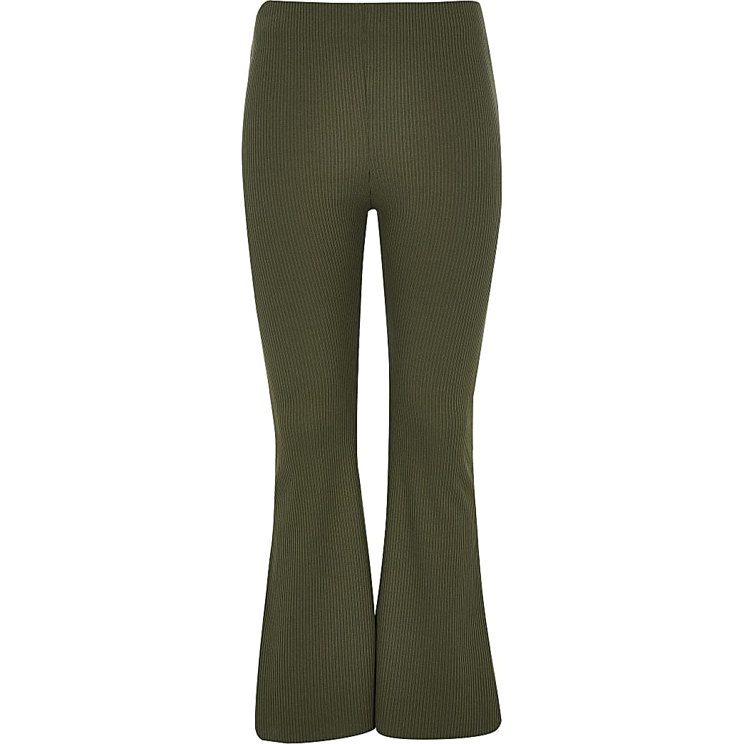 Girls khaki ribbed flared trousers