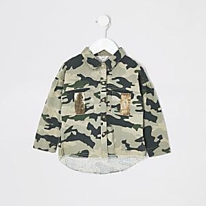 Veste chemise camouflage kaki ornée mini fille