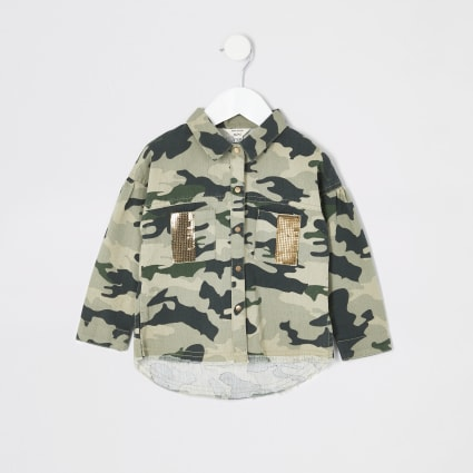 Mini girls khaki camo embellished shacket
