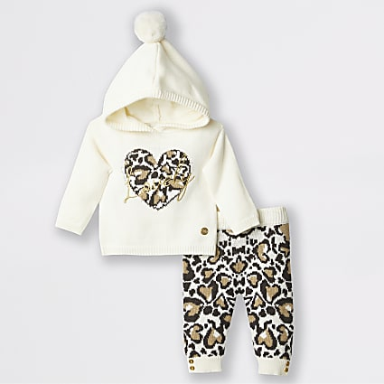 Baby cream leopard knitted jumper outfit