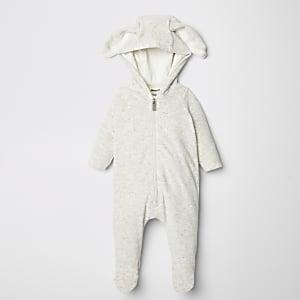 Grauer Häschen-Einteiler für Babys