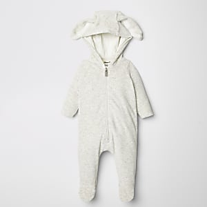 Grijze onesie met capuchon met konijnenoren voor baby's