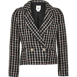 Girls pink and black double breasted jacket