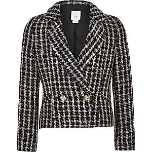 Zweireihige Jacke in Pink und Schwarz